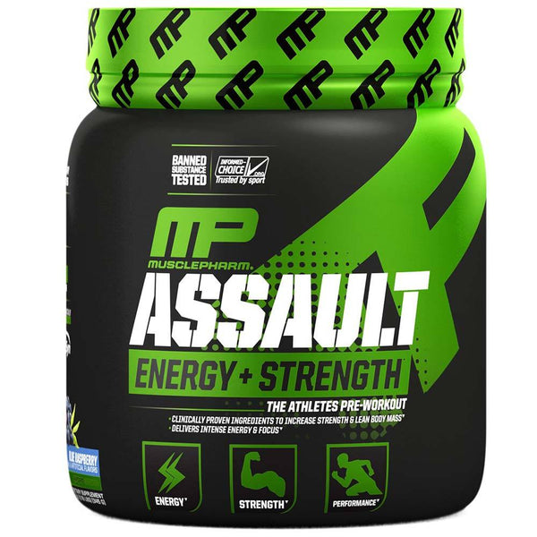 Muscle Pharm Assault 30 Servings Sports Performance Recovery Muscle Pharm Blue Raspberry  (1550052950039)
