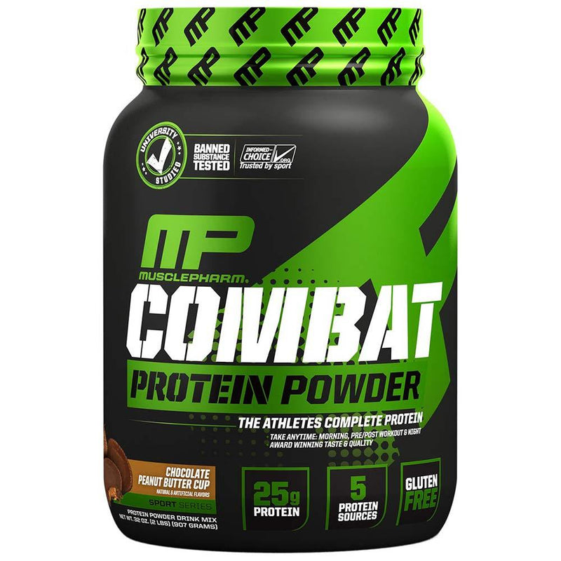 Muscle Pharm Combat Protein Powder 2lb Protein Powders Muscle Pharm Chocolate PB  (1551607136279)