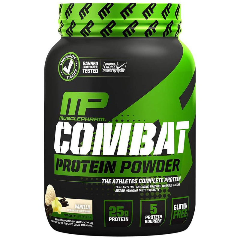 Muscle Pharm Combat Protein Powder 2lb Protein Powders Muscle Pharm Vanilla  (1551607136279)