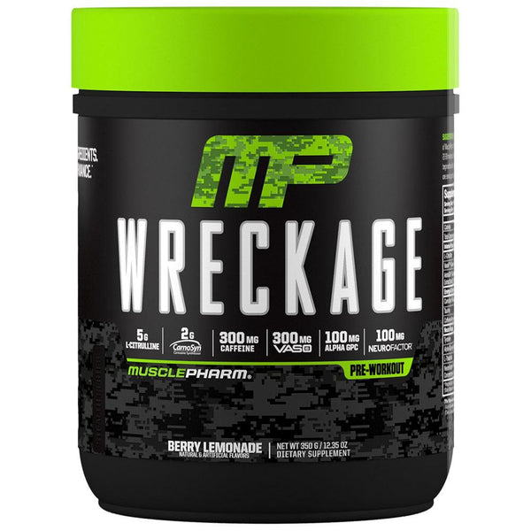 Muscle Pharm Wreckage Pre-Workout 25 Servings Sports Performance Recovery Muscle Pharm Berry Lemonade  (1554567266327)