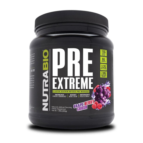 NutraBio Pre Extreme 20/Servings Pre-Workouts NutraBio Grape Berry Crush  (4352173539351)