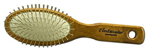 Ambassador Wood Small Oval Hairbrush, Steel Pins Personal Care Fuchs  (10030944067)