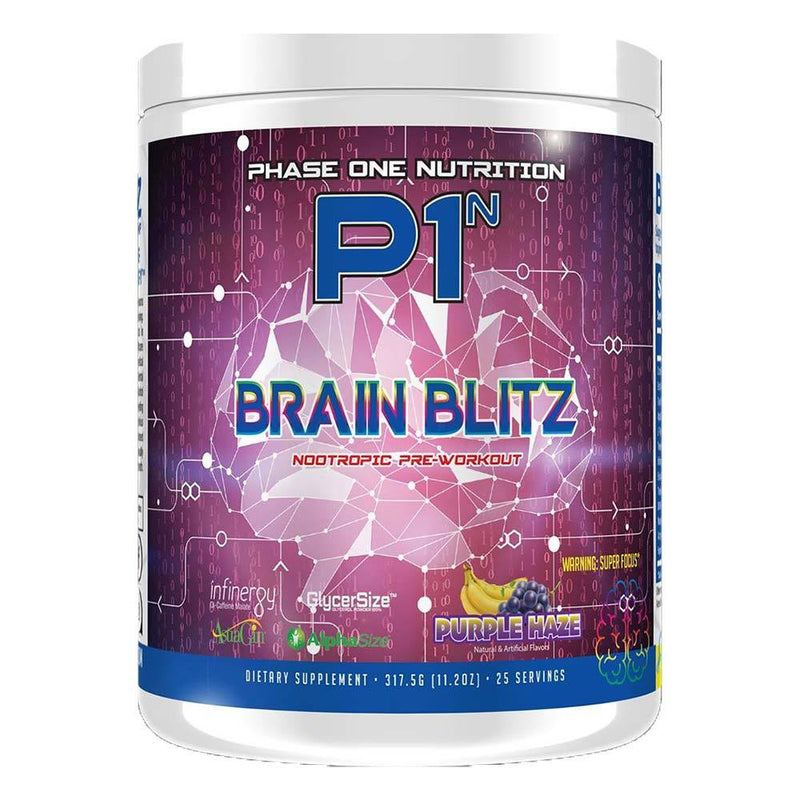 Phase One Nutrition Brain Blitz 25/Servings Pre-Workouts Phase One Nutrition Purple Haze  (4371391971351)