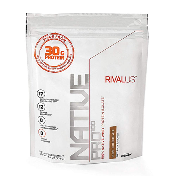 Rivalus Native Pro 100 Pure Chocolate 15.4oz Protein Powders Rivalus  (1576768634903)