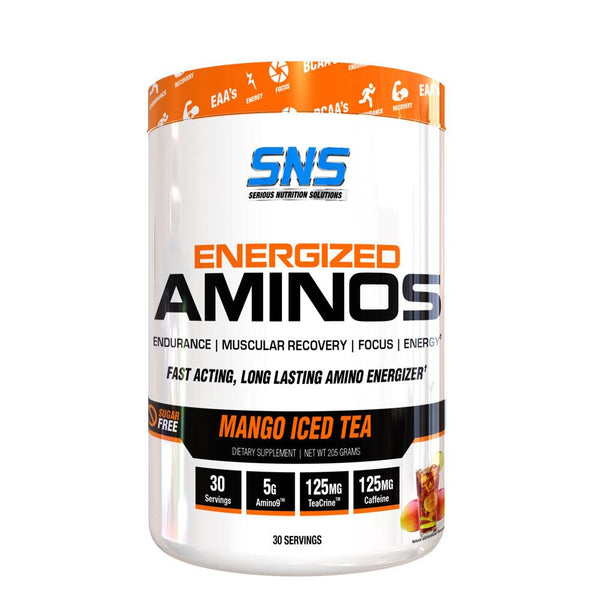 SNS Energized Aminos 30/Srv Amino Acids Serious Nutrition Solutions Mango Iced Tea  (4364305203223)