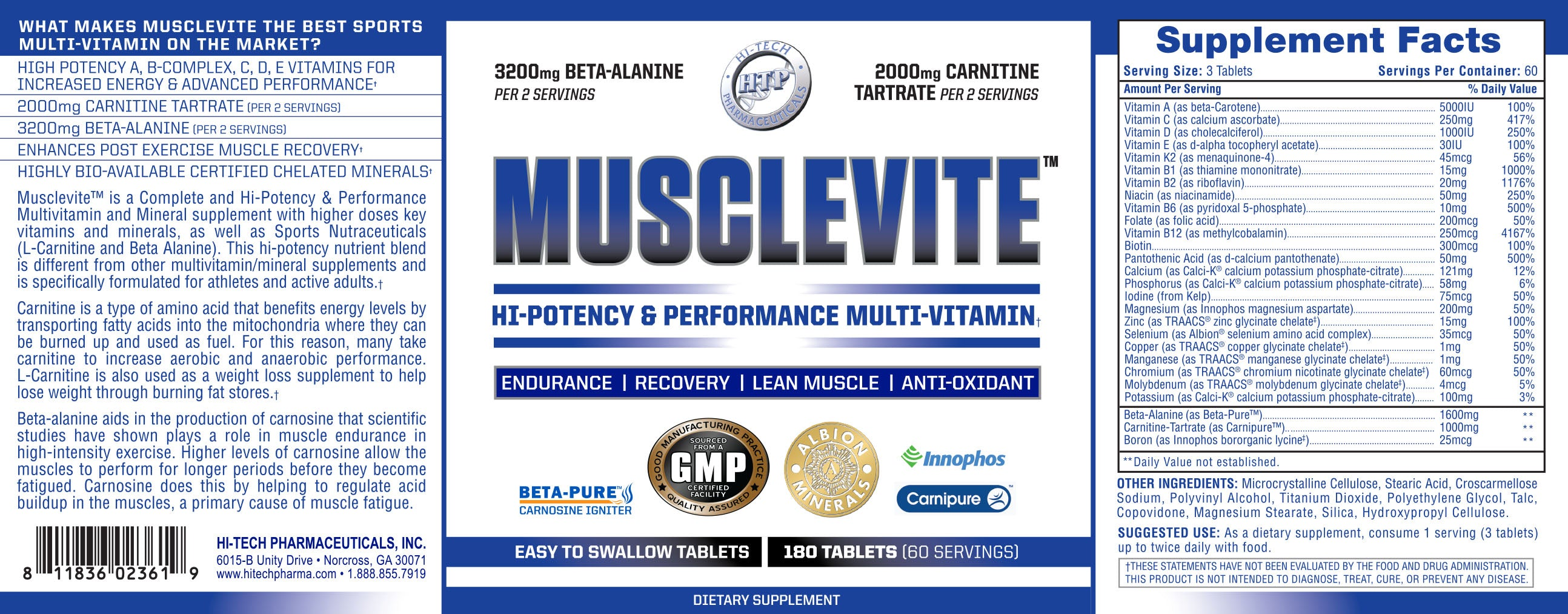MuscleVite Supplement Facts