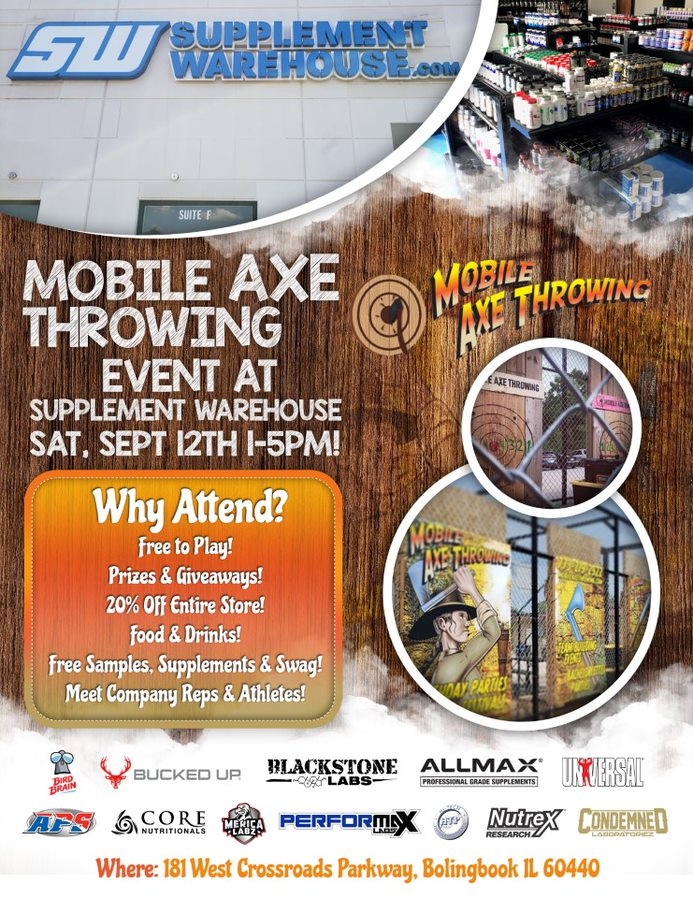 Supplement Warehouse Axe Throwing Event