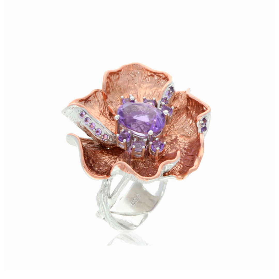 Amethyst Flower Ring - penelope-it.com