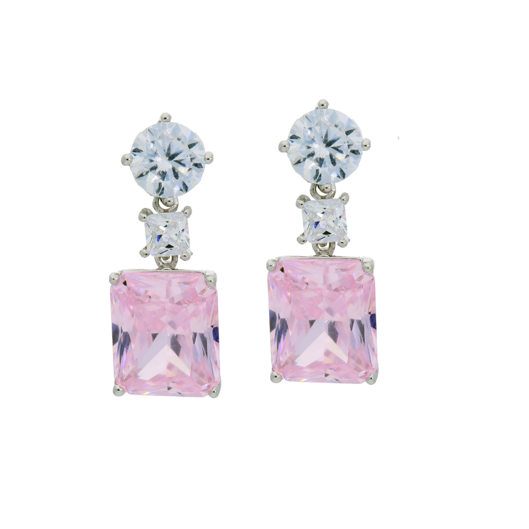 Clear Pink Shine Earrings