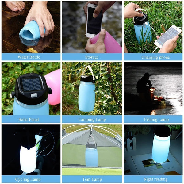 Folding Solar Lantern with Phone Charger and Waterproof Storage