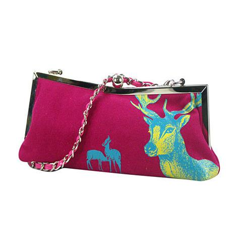 Evening Bag with Deer Print and Glitter