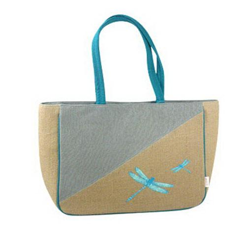 Jute Shoulder Bag with Dragonfly Print