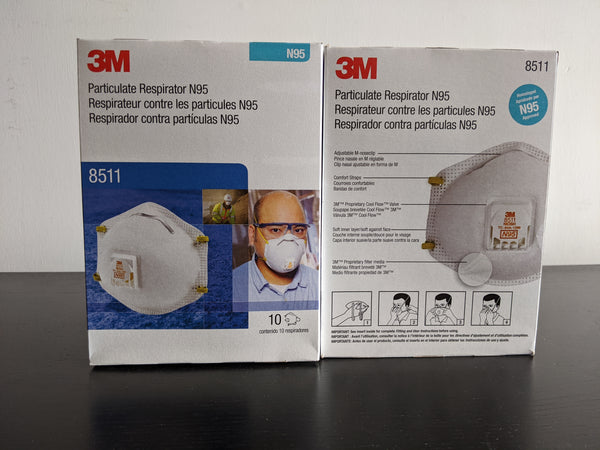 3M 8511 Respirator, N95, (10-Pack) Cool Flow Valve Wuhan Coronavirus Protection