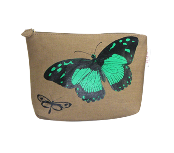 Jute Cosmetic Bag with Butterfly Print