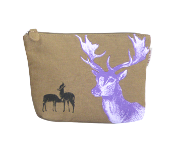 Jute Cosmetic Bag with Deer Print