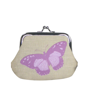 Linen Butterfly Print Coin Purse