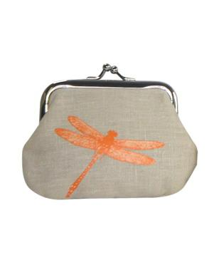 Linen Dragonfly Print Coin Purse