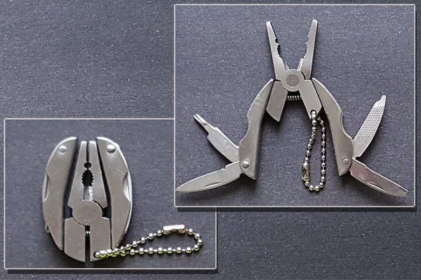 Keychain EDC Folding Pliers with Screwdriver and Knife