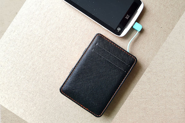 Minimalist Wallet with Phone Charger Card
