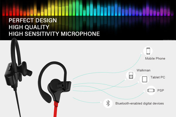 Bluetooth Sports Earphones with Mic - Waterproof & Sweatproof