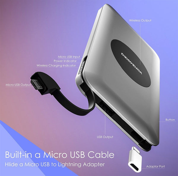 Thin Wireless Charger with Universal Charging Cable (USA customers only)