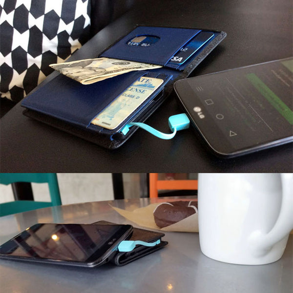 Leather RFID Wallet with Built-in Phone Charger