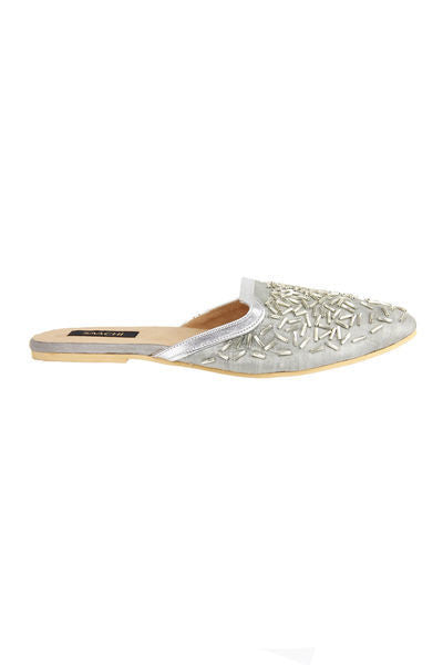 Beaded Confetti Slides - Silver