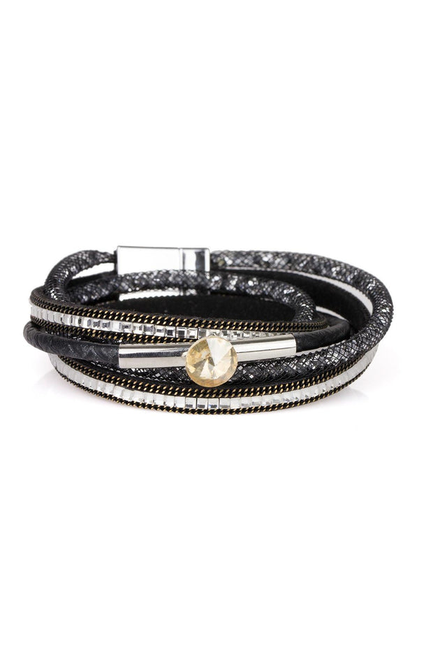 Disco Double Wrap Leather Bracelet