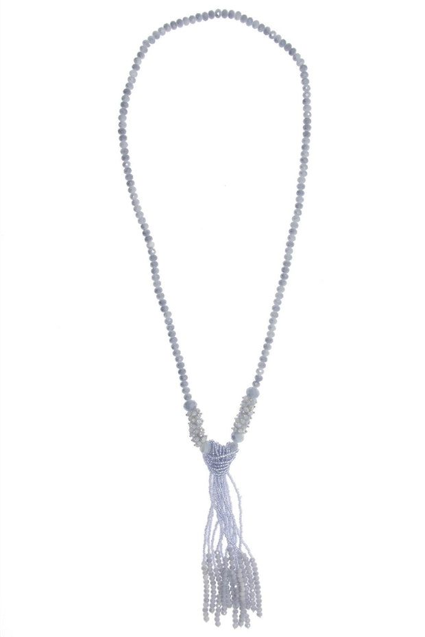 Crystal Knotted Long Tassel Necklace