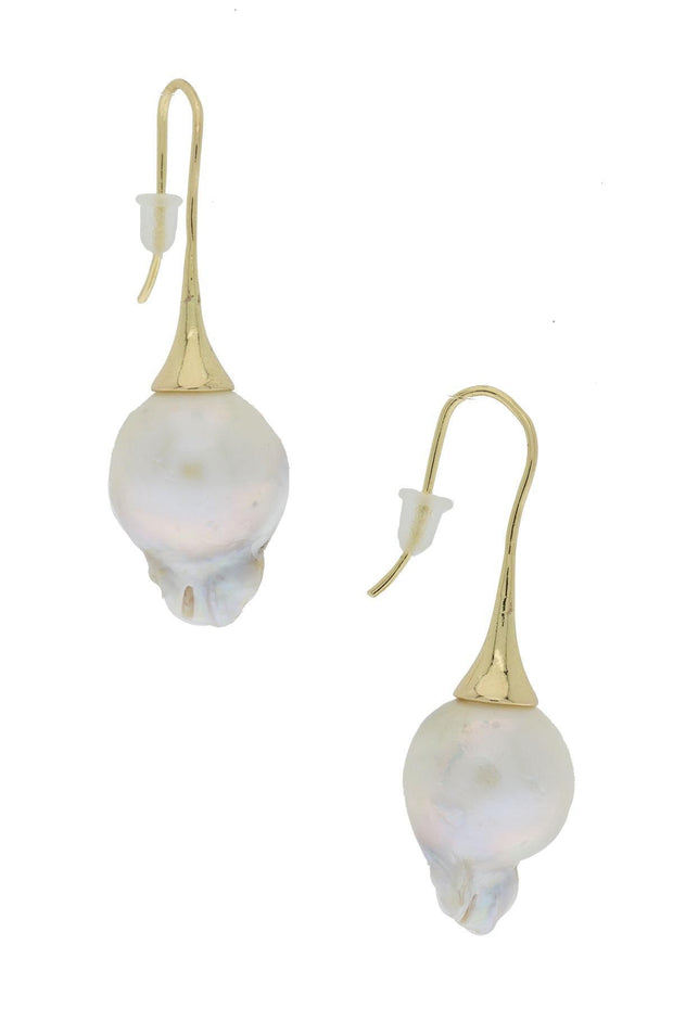 modern pearl drop earrings with gold pearl sweater