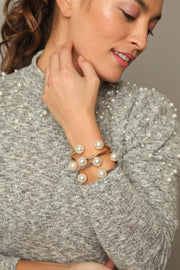 Hinged Pearl Cuff Bracelet