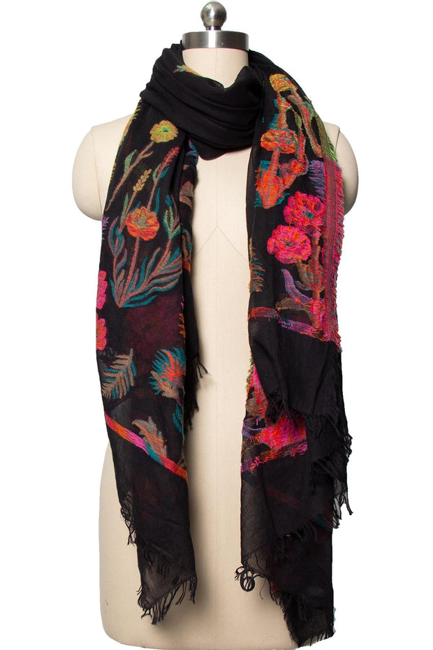 Psychedelic Embroidered Scarf