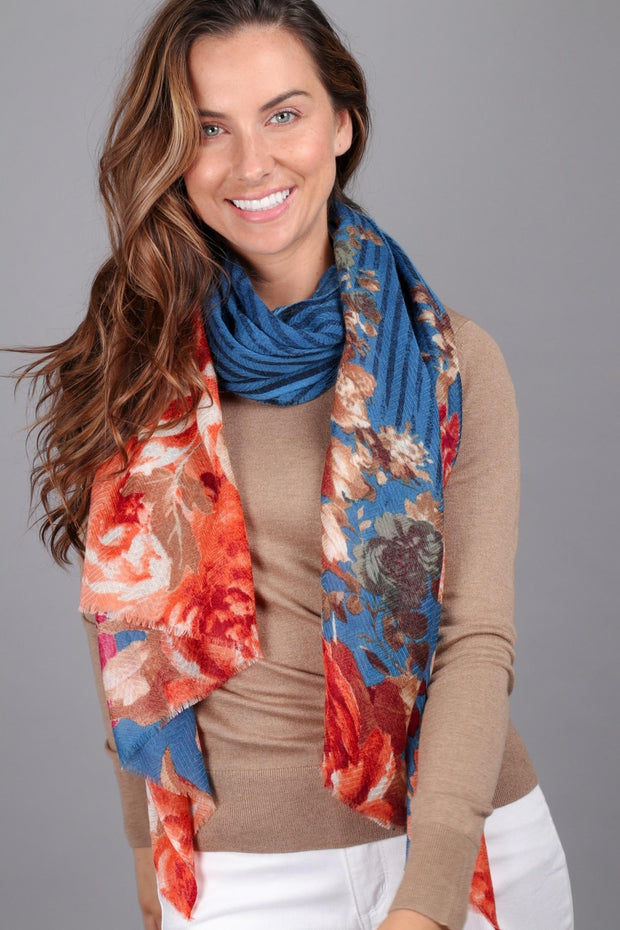 Frida Striped Floral Scarf