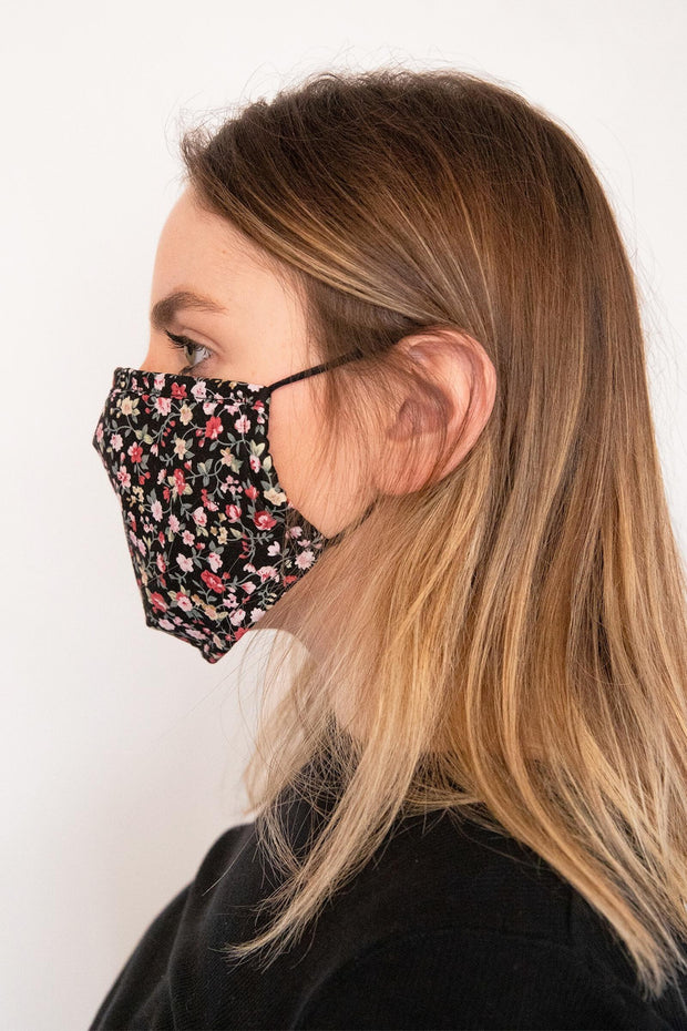 Adjustable Floral Face Mask with Two PM2.5 Filters
