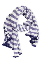 Striped Pom Pom Scarf