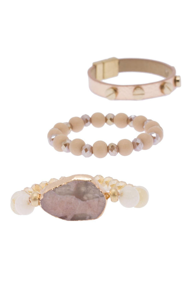 leather and crystal bracelet set