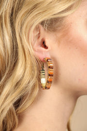 Mosaic Beaded Hoop Earring