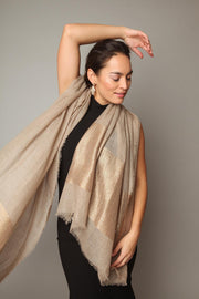 Black dress with taupe dressy Scarf