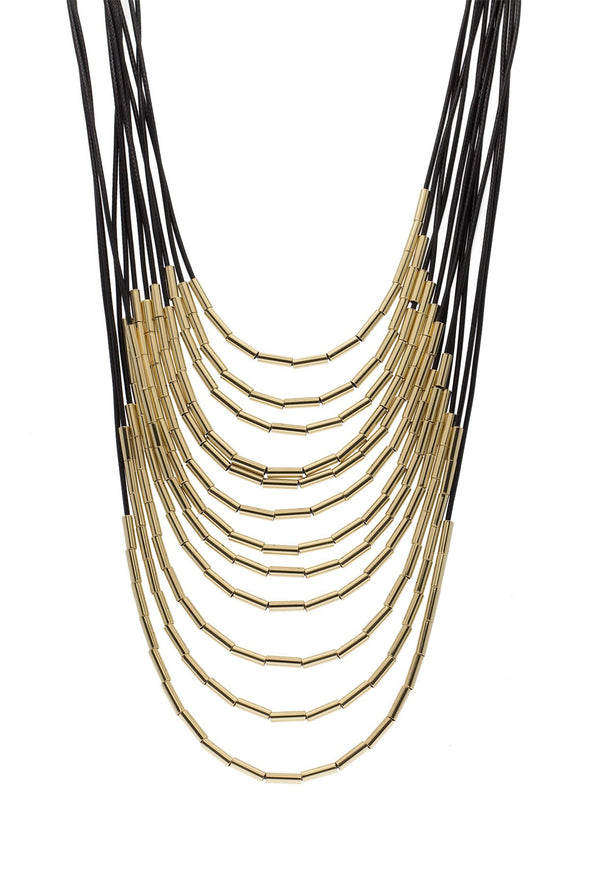 long layered necklace with gold beads