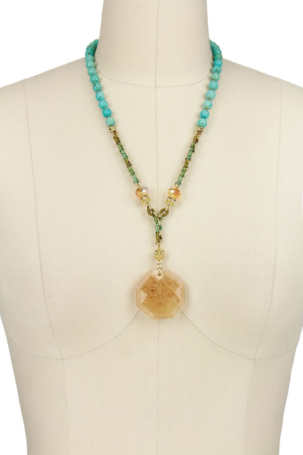 Turquoise Beaded Pendant Necklace 1