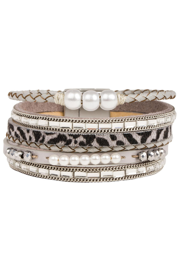 Wild About Pearls Leather Bracelet