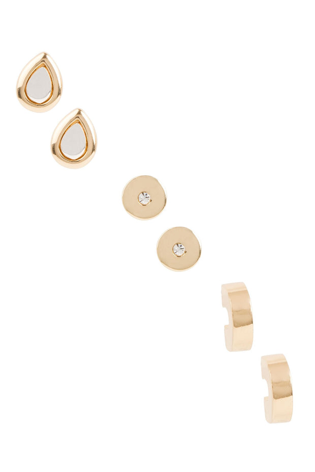 Threefold Stud Earring Set