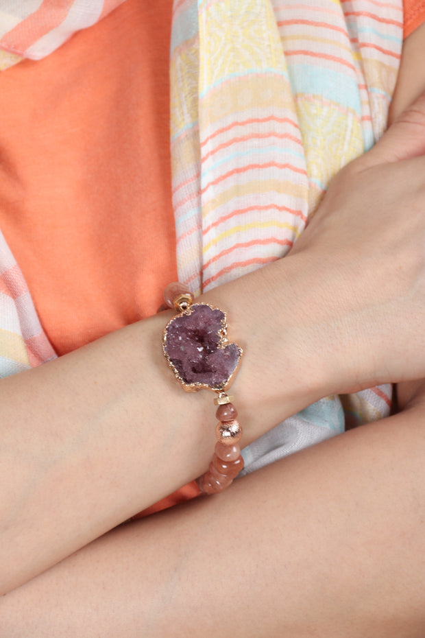 Druzy Stretch Beaded Bracelet