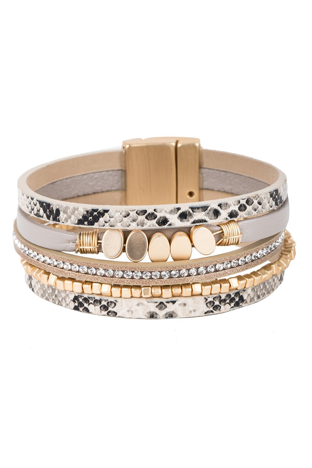 Boca Beaded Leather Bracelet