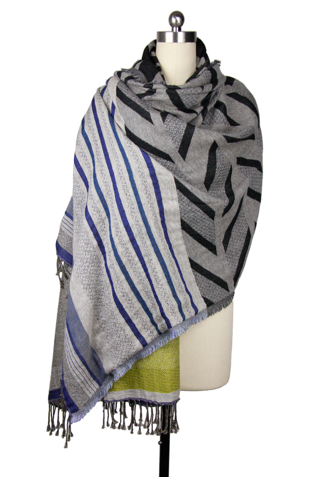 Mixed print striped scarf