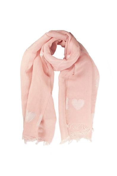 Pink Metallic Heart Scarf