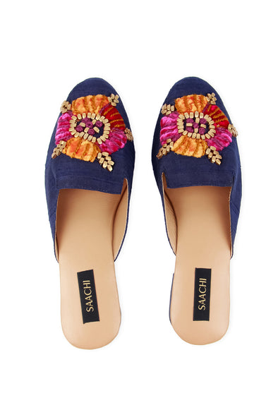 navy womens slide mule with colorful embroidery