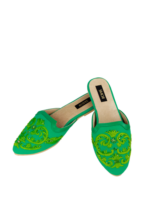 Pool Embroidered Mule