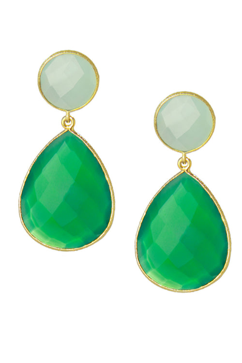 Aqua Chalcedony &  Green Onyx Double Drop Earrings