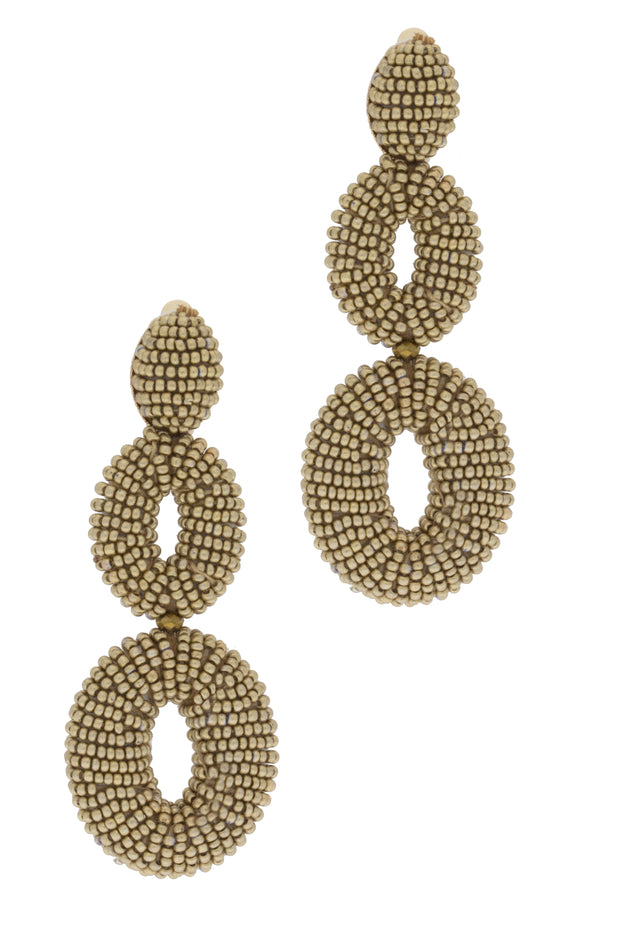 Beaded gold statement earring